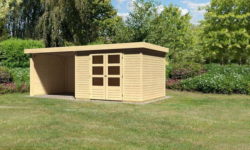 Sonderangebot: Woodfeeling Holz-Gartenhaus: Askola 5 im Set mit Anbaudach und 19 mm Seiten- Rückwand - 19 mm Flachdach Schraub- Stecksystem  - naturbelassen