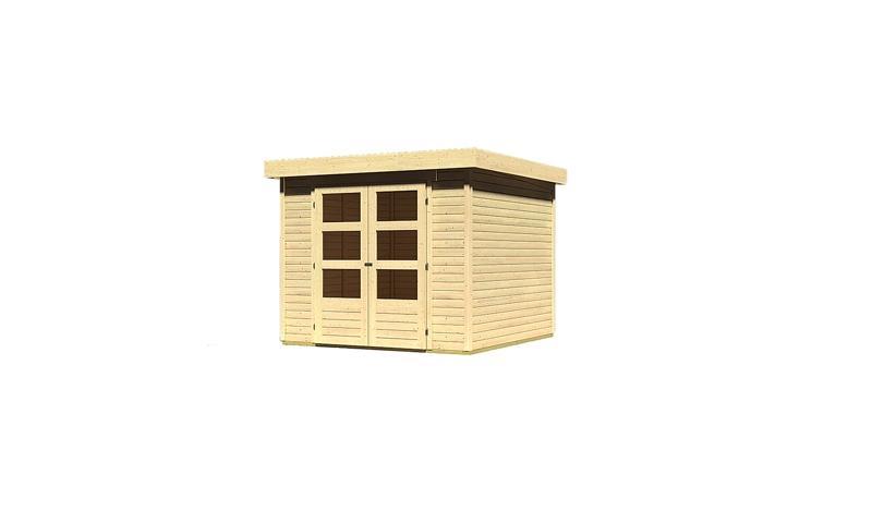 Woodfeeling Holz-Gartenhaus: Askola 3,5 - 19 mm Flachdach Schraub- Stecksystem  - naturbelassen