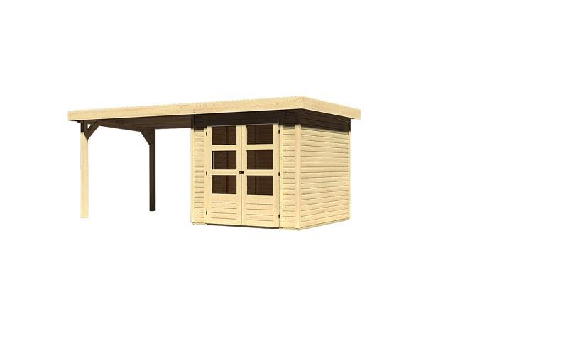 Sonderangebot: Woodfeeling Gartenhaus: Askola 2 im Set mit Anbaudach 2,60 m Breite - 19 mm Flachdach Schraub- Stecksystem  - naturbelassen