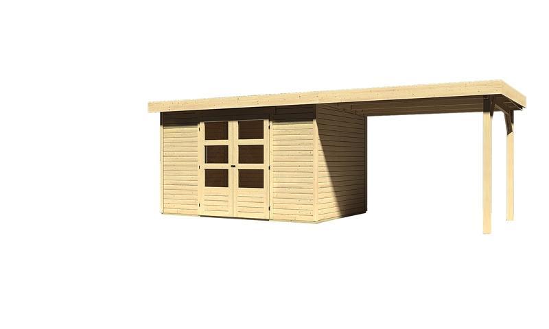 Sonderangebot: Woodfeeling Holz-Gartenhaus: Askola 4 im Set mit Anbaudach 2,60  m Breite - 19 mm Flachdach Schraub- Stecksystem  - naturbelassen
