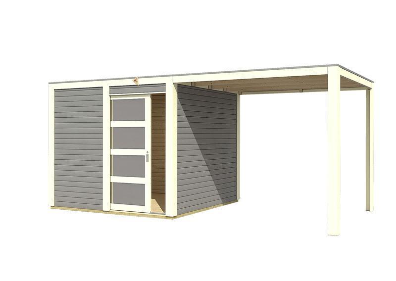 Karibu Gartenhaus Sparset Cubini 19 mm terragrau, inkl.selbstklebende Premium-Aluminiumfolie + Anbaudach 2,40 m breit