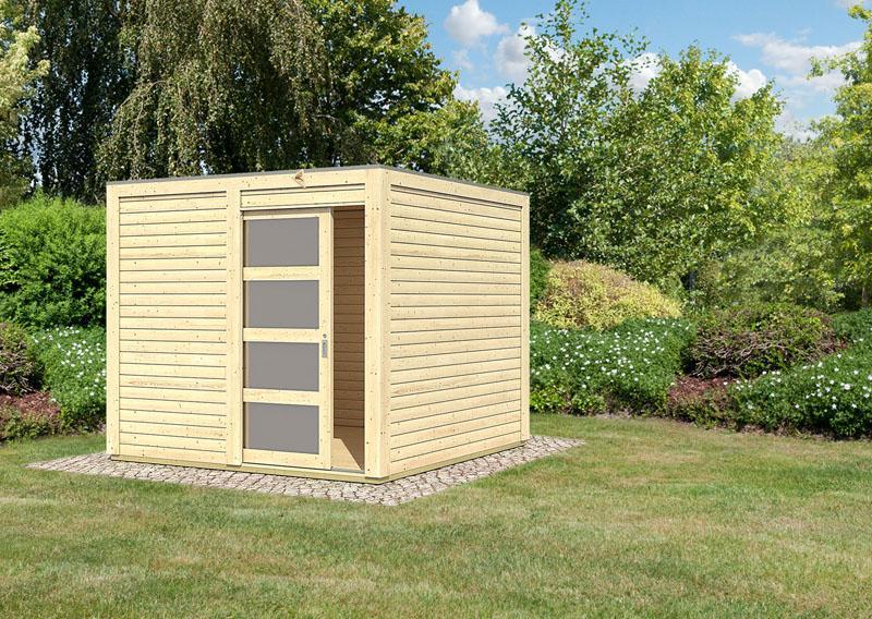 Karibu Holz-Gartenhaus Sparset Cubini 19 mm naturbelassen, inkl. 2 x selbstklebende Premium-Aluminiumfolie