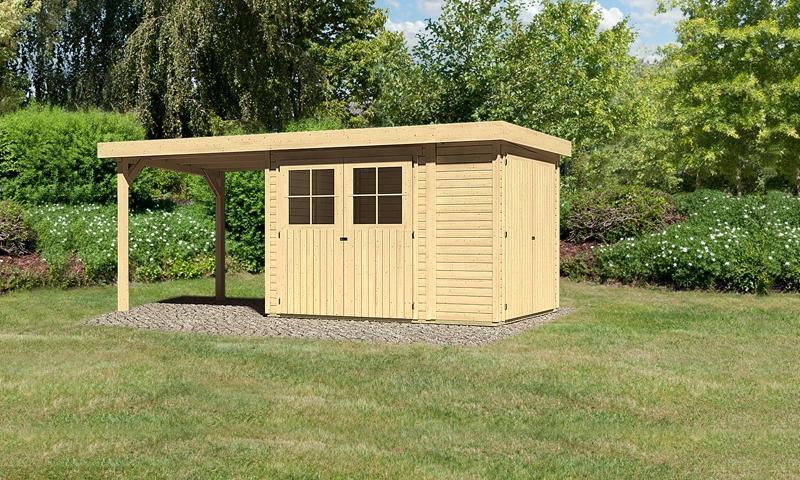 Woodfeeling Gartenhaus: Multifunktionshaus Laura 2 mit Schleppdach 2,20m Breite - 19 mm Flachdach Schraub- Stecksystem  - naturbelassen