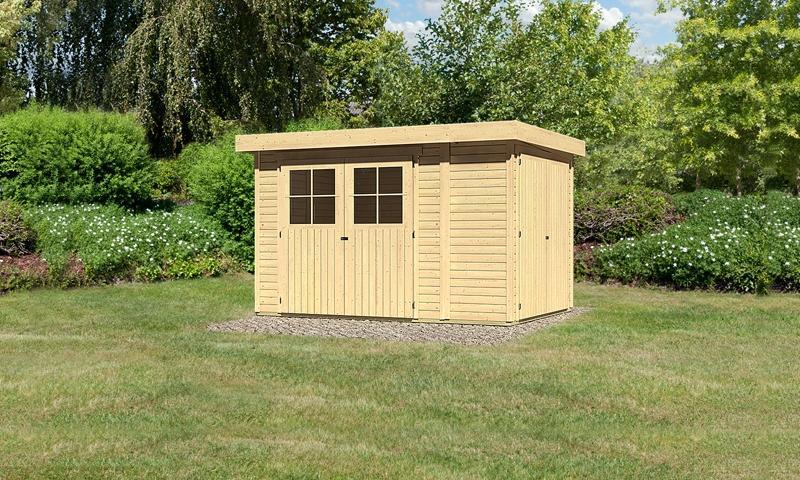 Woodfeeling Gartenhaus: Multifunktionshaus Laura 3 mit Anbauschrank mit Doppelflügeltür in der Seite - 19 mm Flachdach Schraub- Stecksystem  - naturbelassen