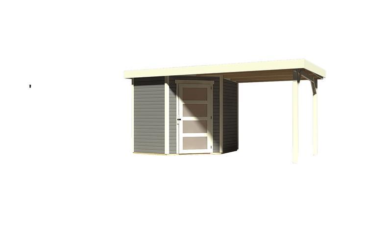 Sonderangebot: Woodfeeling Gartenhaus: Schwandorf 3 im Set mit Anbaudach 2,20 m Breite - 19 mm Flachdach Schraub- Stecksystem - terragrau