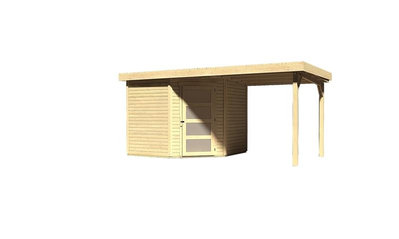 Sonderangebot: Woodfeeling Gartenhaus: Schwandorf 5 im Set mit Anbaudach 2,20 m Breite - 19 mm Flachdach Schraub- Stecksystem  - naturbelassen