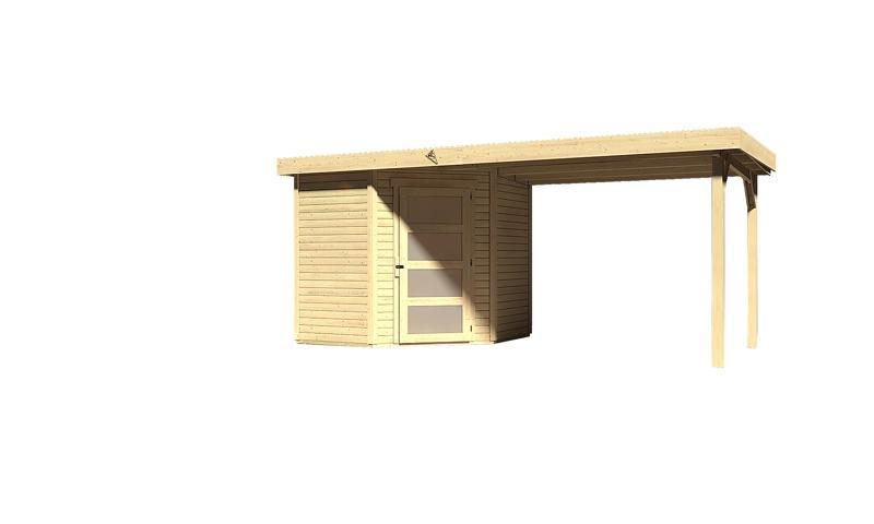 Sonderangebot: Woodfeeling Gartenhaus: Schwandorf 3 im Set mit Anbaudach 2,60 m Breite - 19 mm Flachdach Schraub- Stecksystem  - naturbelassen