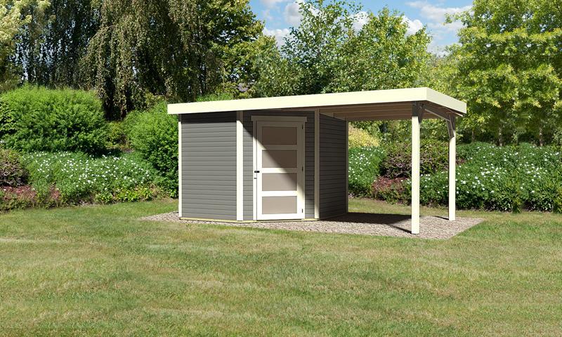 Karibu Woodfeeling Holz-Gartenhaus: Schwandorf 5 im Set mit Anbaudach 2,20 m Breite - 19 mm Flachdach Schraub- Stecksystem - terragrau