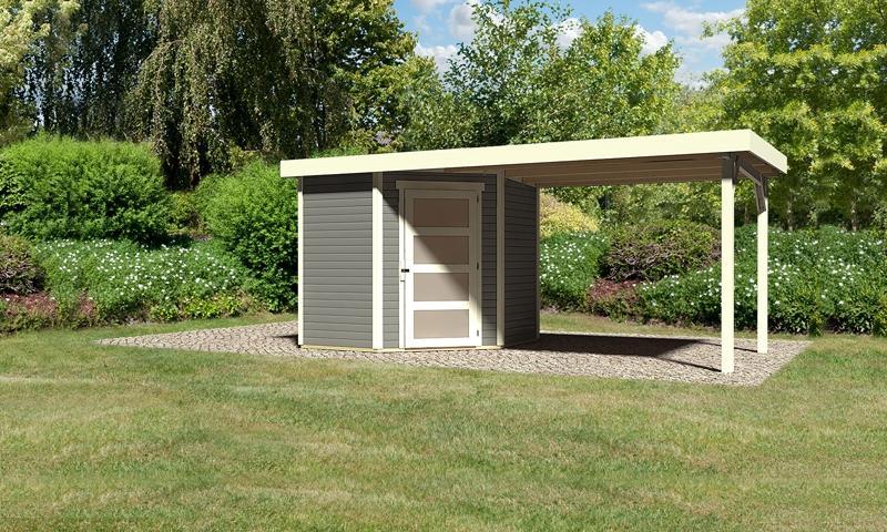 Sonderangebot: Woodfeeling Gartenhaus: Schwandorf 3 im Set mit Anbaudach 2,60 m Breite - 19 mm Flachdach Schraub- Stecksystem - terragrau