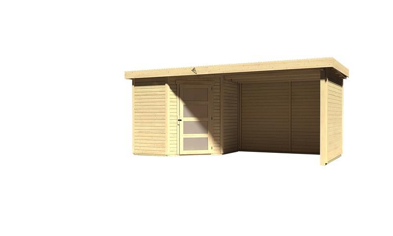 Karibu Woodfeeling Holz-Gartenhaus: Schwandorf 3 im Set mit Anbaudach 2,60 m Breite und 19 mm Seiten- und Rückwand - 19 mm Flachdach Schraub- Stecksystem  - naturbelassen