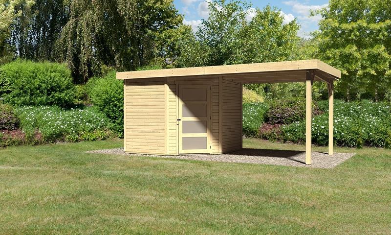 Sonderangebot: Woodfeeling Gartenhaus: Schwandorf 5 im Set mit Anbaudach 2,60 m Breite - 19 mm Flachdach Schraub- Stecksystem  - naturbelassen