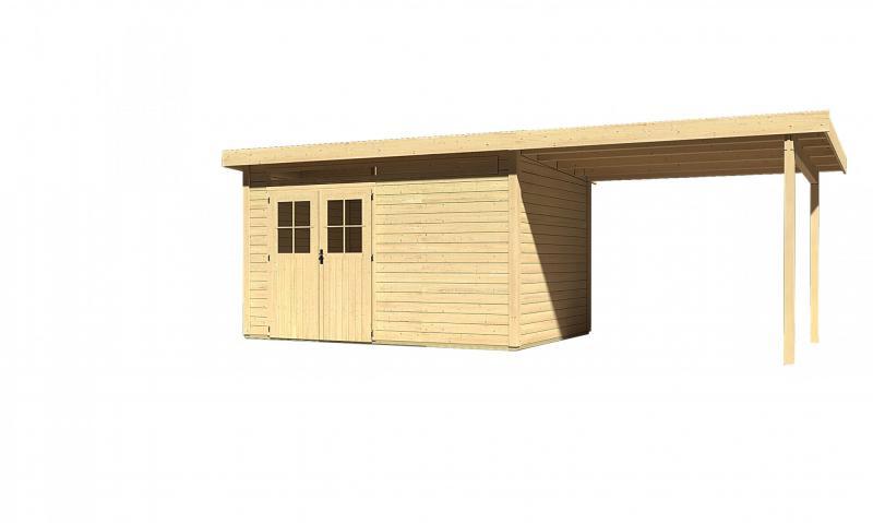 Sonderangebot: Woodfeeling Gartenhaus: Kulpin 7 im Set mit Anbaudach 2,95 m Breite - 28 mm Flachdach Schraub- Stecksystem  - naturbelassen
