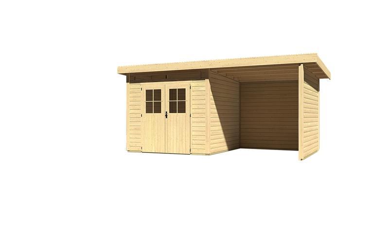 Sonderangebot: Woodfeeling Gartenhaus: Kulpin 3 im Set mit Anbaudach 2,35 m Breite und 28mm Seiten- und Rückwand - 28 mm Flachdach Schraub- Stecksystem  - naturbelassen