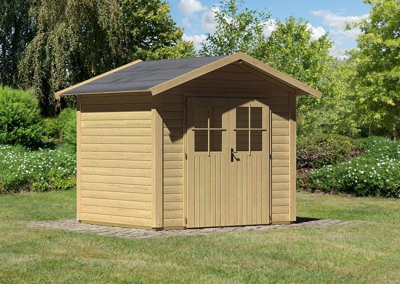 Karibu Gartenhaus Maborg - 28 mm Wandstärke Eco Steck- und Schraubsystem - naturbelassen