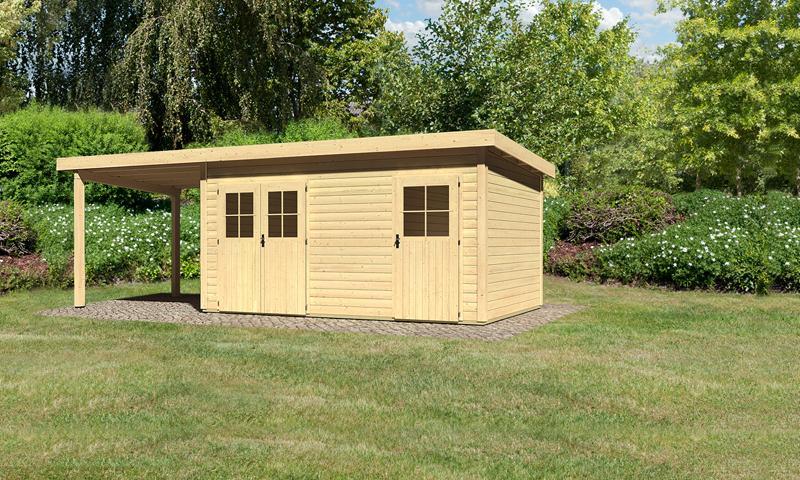 Sonderangebot: Woodfeeling Holz-Gartenhaus: Mattrup im Set mit einem Anbaudach Breite 2,35 m - 28 mm Flachdach Schraub- Stecksystem  - naturbelassen