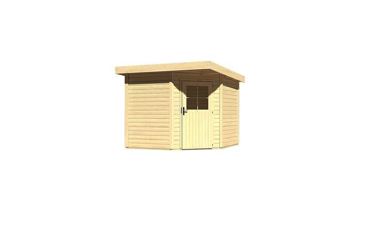 Woodfeeling Gartenhaus: Neuruppin 2 - 28 mm Flachdach Schraub- Stecksystem  - naturbelassen