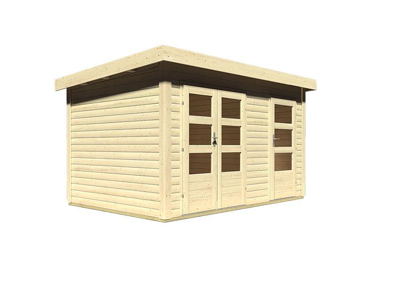 Woodfeeling Holz-Gartenhaus: Schönbuch 1 - 40 mm Flachdach Schraub- Stecksystem  - naturbelassen