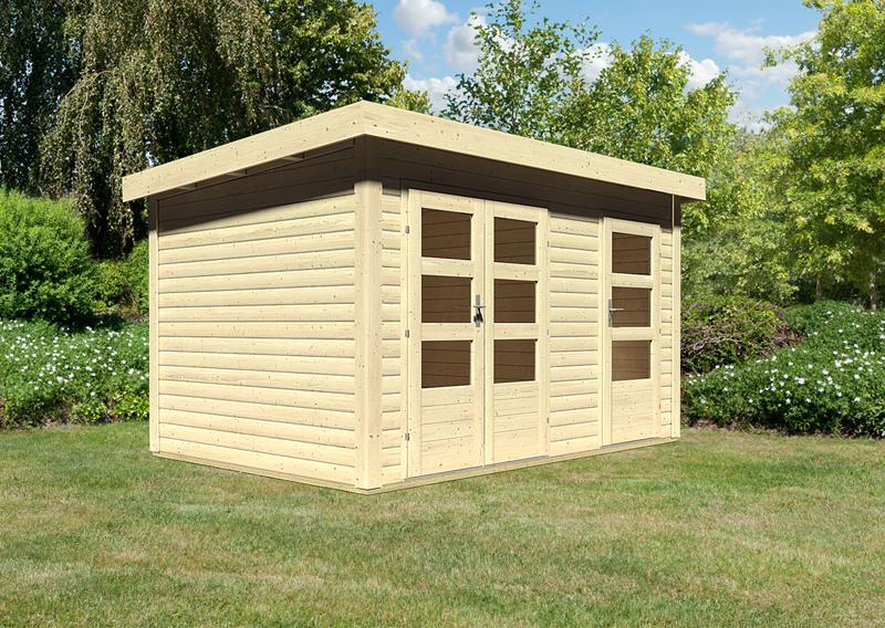 Woodfeeling Gartenhaus: Schönbuch 1 - 40 mm Flachdach Schraub- Stecksystem  - naturbelassen