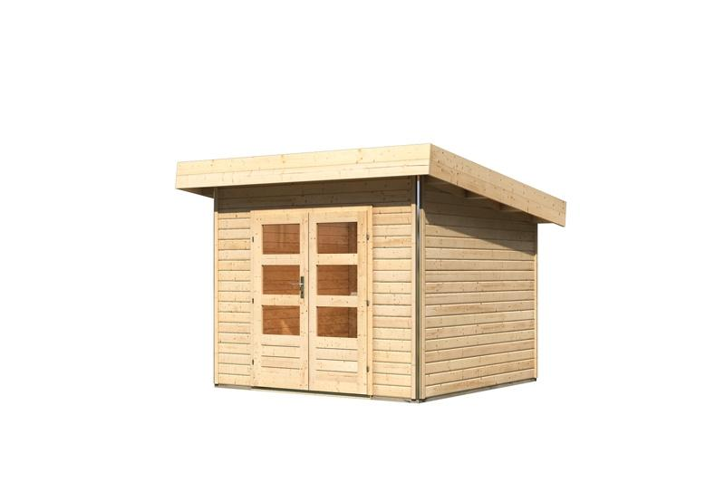 karibu gartenhaus moosburg 1 pultdach 40 mm system natur. Black Bedroom Furniture Sets. Home Design Ideas