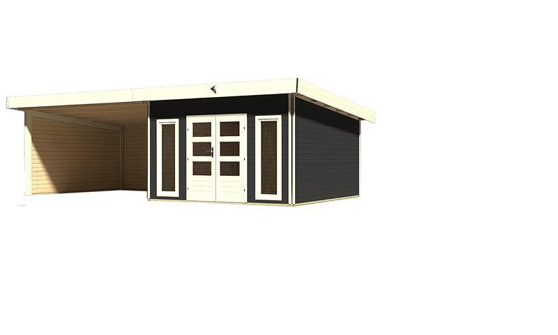 Karibu Gartenhaus Tecklenburg 2 im Set 4 m Anbaudach Seiten- und Rückwand - 40 mm Wandstärke Pultdachhaus - opalgrau