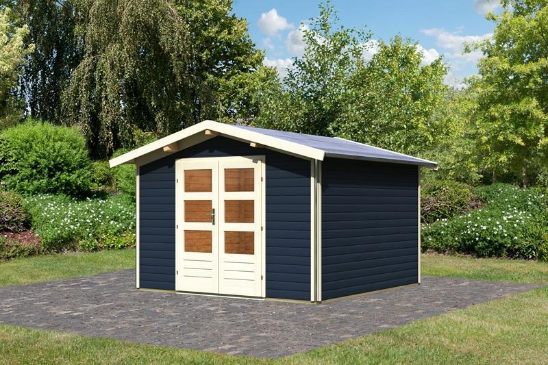 Karibu Gartenhaus Angelburg 3 Satteldach 40 mm System - opalgrau