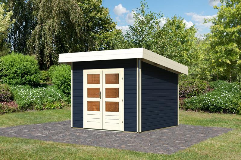 Karibu Holz-Gartenhaus Moosburg 1 Pultdach 40 mm System - opalgrau