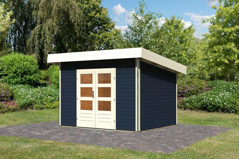 Karibu Holz-Gartenhaus Moosburg 2 Pultdach 40 mm System - opalgrau