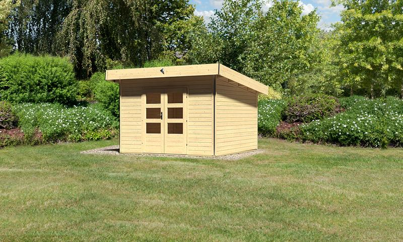Karibu Holz-Gartenhaus Moosburg 3 Pultdach 40 mm System - natur