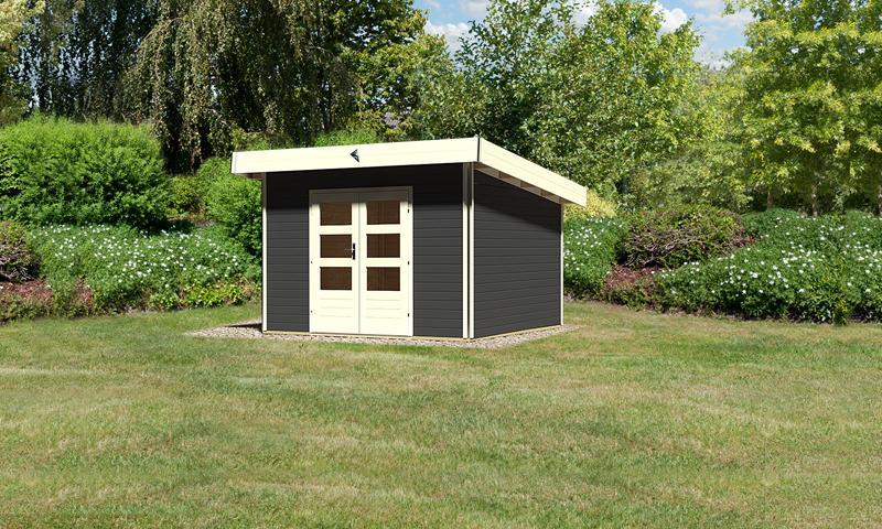 Karibu Holz-Gartenhaus Moosburg 3 Pultdach 40 mm System - opalgrau