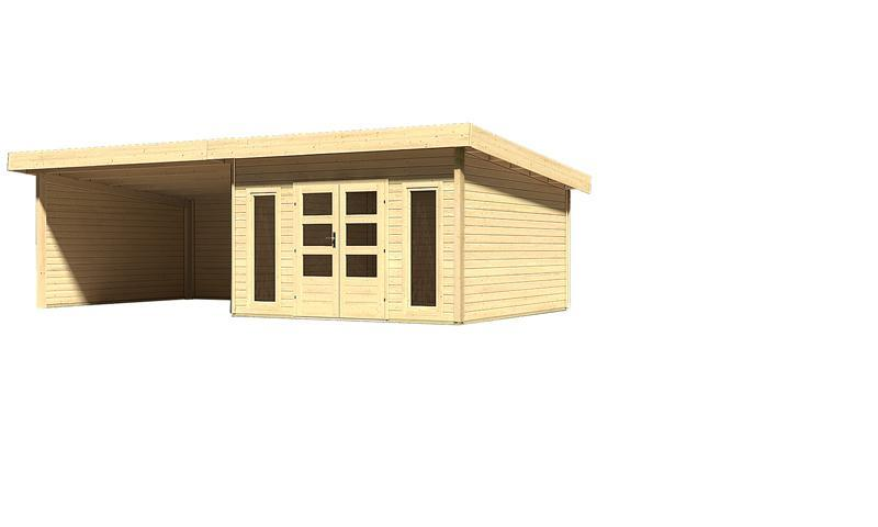 Sonderangebot: Woodfeeling Gartenhaus: Northeim 5 im Set mit einem Anbaudach Breite 4 m und 28mm Seiten- und Rückwand - 40 mm Pultdach  - naturbelassen