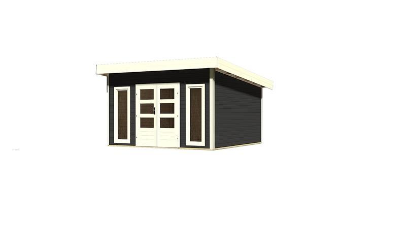 Woodfeeling Holz-Gartenhaus Flachdach Northeim 5 - 40 mm System - opalgrau