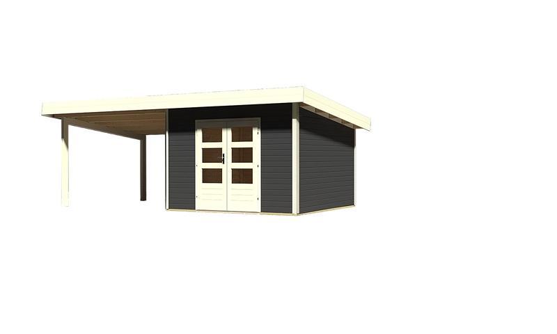 Sonderangebot: Woodfeeling Holz-Gartenhaus: Northeim 3 im Set mit einem Anbaudach Breite 3 m - 40 mm Pultdach -  opalgrau