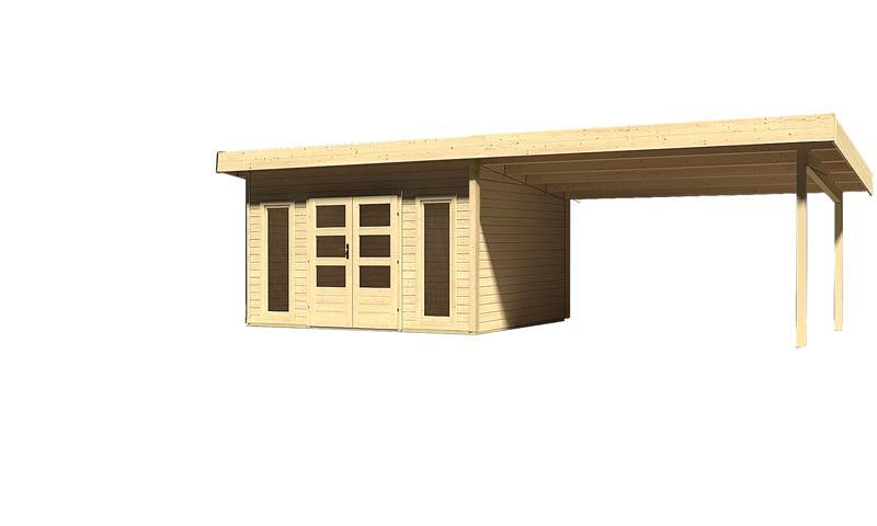 Sonderangebot: Woodfeeling Holz-Gartenhaus: Northeim 4 im Set mit einem Anbaudach Breite 4 m - 40 mm Pultdach  - naturbelassen