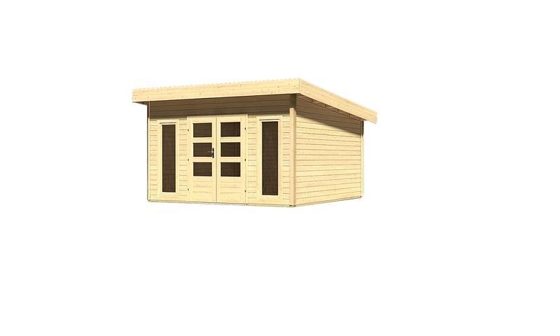 Woodfeeling Holz-Gartenhaus Flachdach Northeim 5 - 40 mm System - naturbelassen