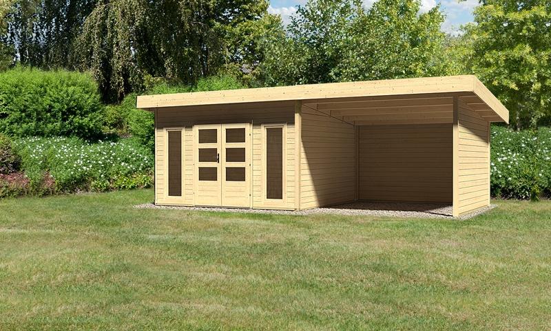 Woodfeeling Holz-Gartenhaus: Northeim 4 im Set mit einem Anbaudach Breite 3 m und 28mm Seiten- und Rückwand - 38 mm Pultdach  - naturbelassen