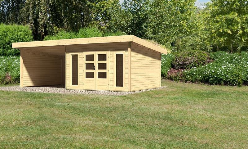 Sonderangebot: Woodfeeling Holz-Gartenhaus: Northeim 5 im Set mit einem Anbaudach Breite 3 m und 28mm Seiten- und Rückwand - 40 mm Pultdach  - naturbelassen