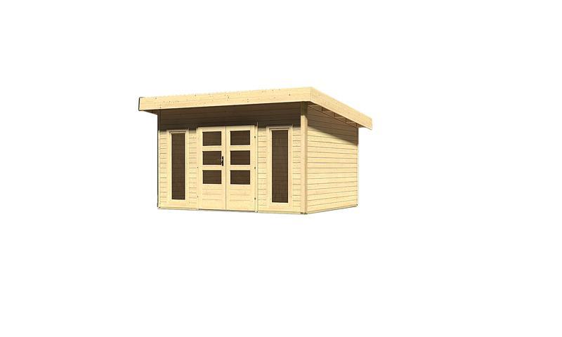 Woodfeeling Holz-Gartenhaus Flachdach Northeim 4 - 40 mm System - naturbelassen