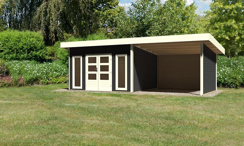 Sonderangebot: Woodfeeling Holz-Gartenhaus: Northeim 4 im Set mit einem Anbaudach Breite 3 m und 28mm Seiten- und Rückwand - 40 mm Pultdach -  opalgrau