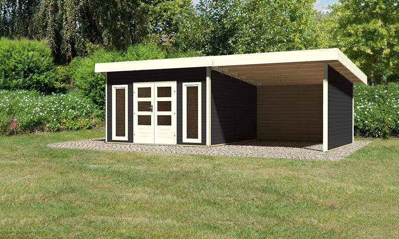 Sonderangebot: Woodfeeling Holz-Gartenhaus: Northeim 5 im Set mit einem Anbaudach Breite 3 m und 28mm Seiten- und Rückwand - 40 mm Pultdach -  opalgrau