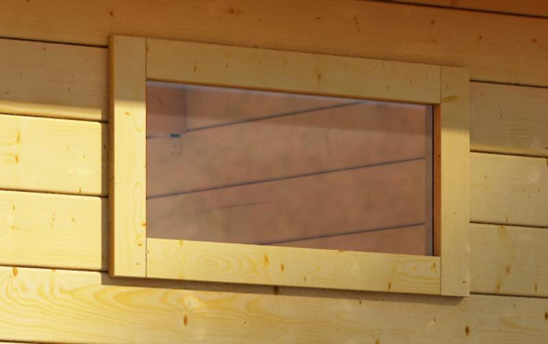 Woodfeeling 38 mm längliches feststehendes Fenster - naturbelassen