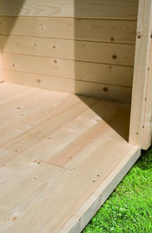 Karibu Woodfeeling Holz-Gartenhaus  Retola 5 inkl. Anbauschrank und Anbaudach 2,80 m Breite 19mm Farbe naturbelassen (unbehandelt)