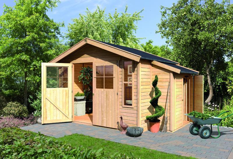 Karibu Holz-Gartenhaus Auburg 6 - 19 mm Satteldach Schraub- Stecksystem - naturbelassen