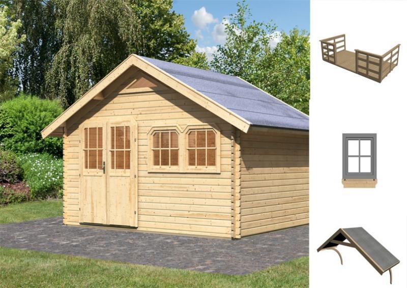Sonderangebot: Karibu Holz-Gartenhaus Doderic 3 inkl. Dachausbau + Terasse + Zubehör - natur