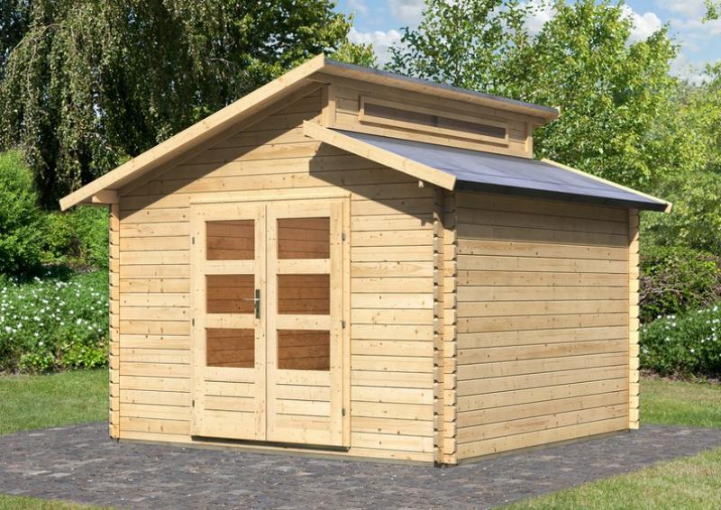 Karibu Holz-Gartenhaus Värmland 1 Stufendach 28 mm Massiv - natur