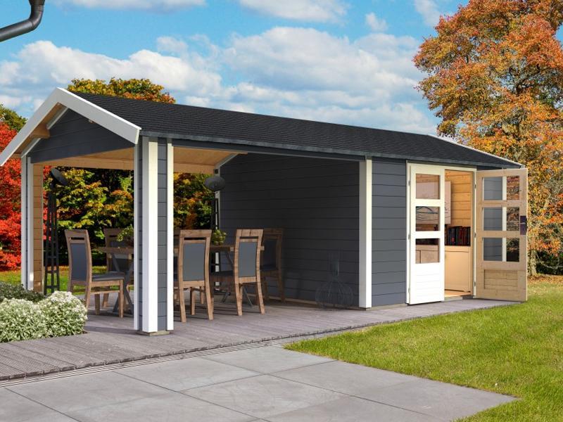 Woodfeeling Karibu Holz-Gartenhaus Tastrup 7 im Set mit 2 Dachausbauelement in terragrau