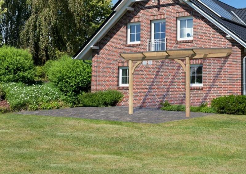 Karibu Holz Terrassenüberdachung Modell 3 Premium - Grösse A (350 x 310 cm) - Douglasie rund