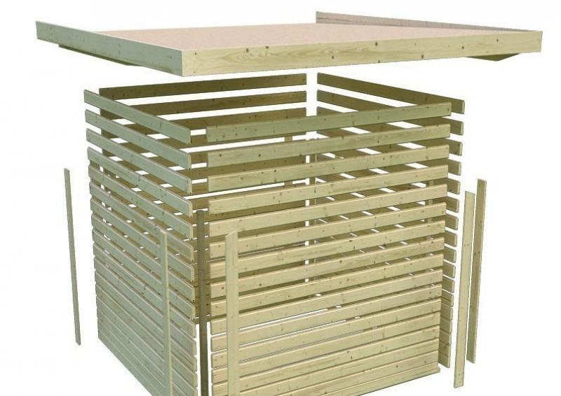 Karibu Gartenhaus Mittelwandhaus Bergamo 19 mm - Zweiraumhaus terragrau - inkl. Bitumendachbelag für Ersteindeckung