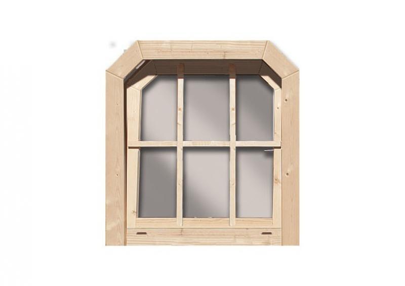 Karibu Holz-Gartenhausfenster Dreh-/Kipptechnik friesenstil für 40 mm Wandstärke - natur