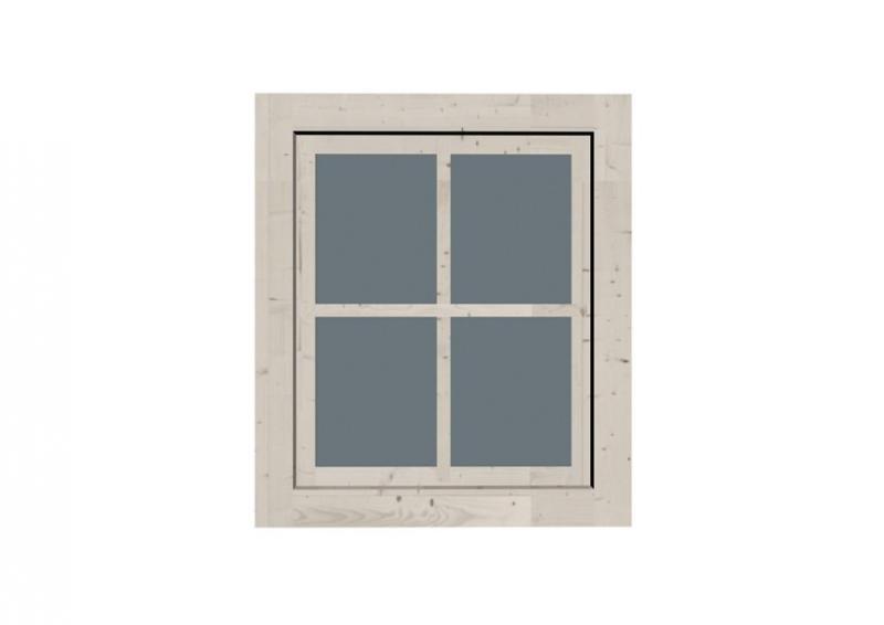 Karibu Holz-Gartenhausfenster Dreh-/Kipptechnik rechteckig für 28 mm Wandstärke - elfenbeinweiss
