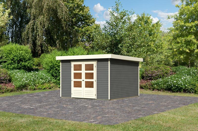 Woodfeeling Karibu Holz-Gartenhaus Askola 6 in terragrau